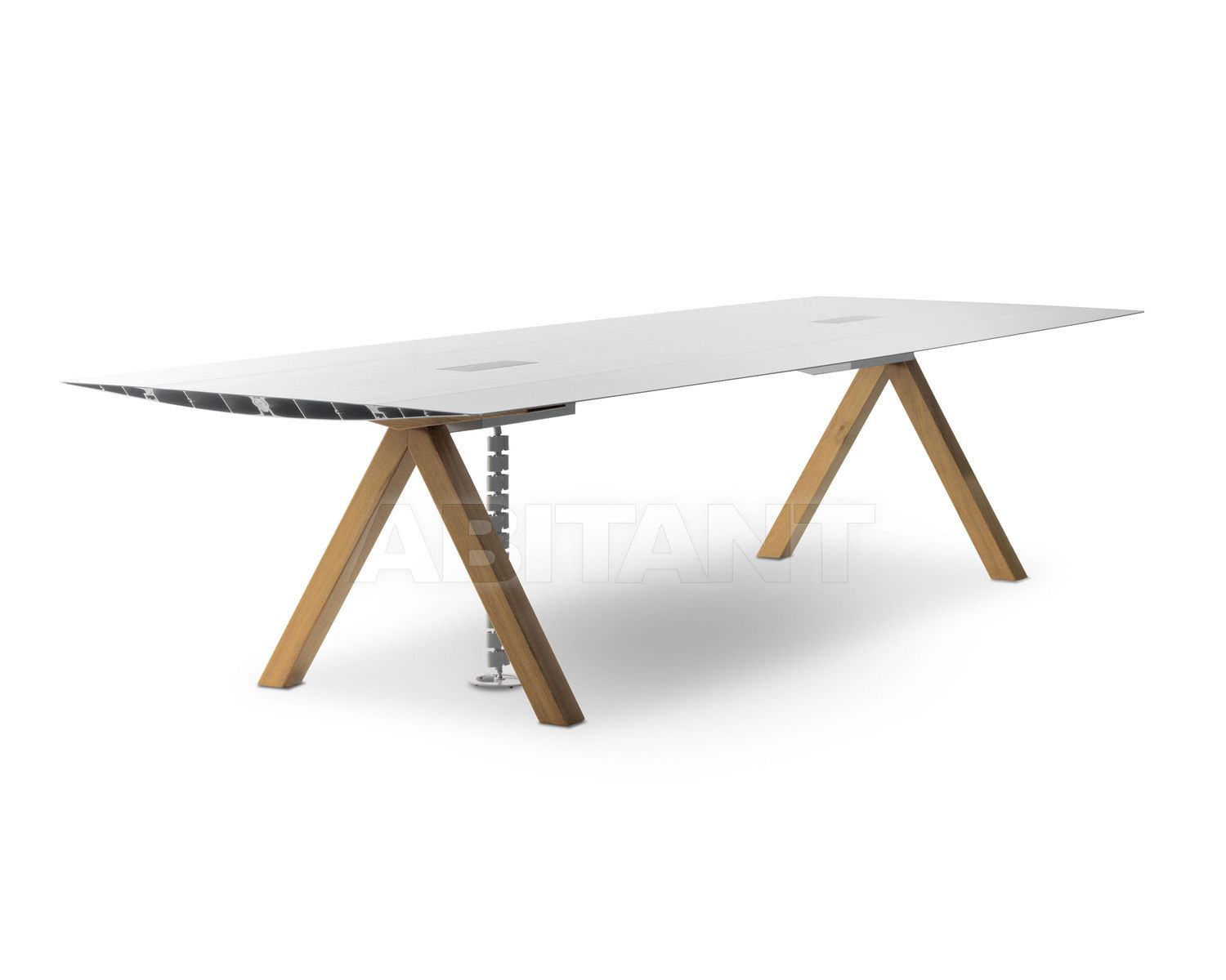 Conference Table TABLE B Gray BD Barcelona Design ELECTRIC CABLE - Under conference table cable management